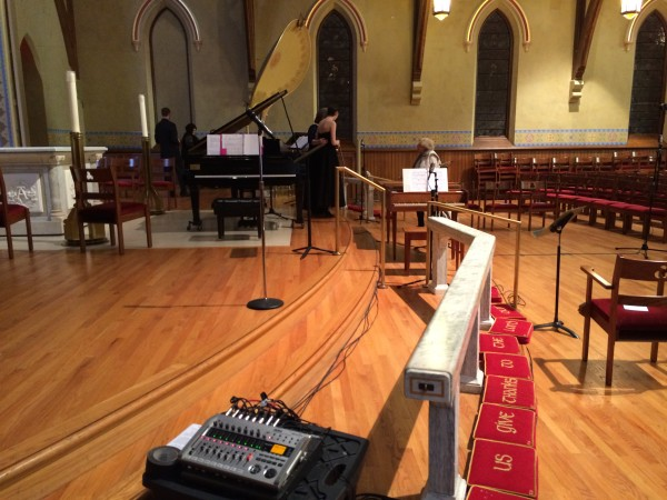 Live recording at Trinity Episcopal Church in Downtown Toledo. I used 8 mics to help capture the harpsichord, vocals, piano and room correctly!