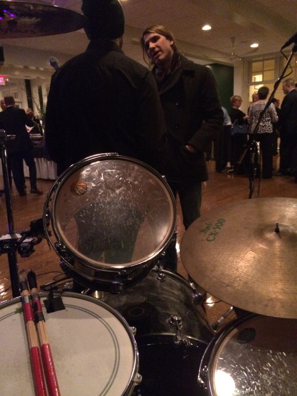 Stoll playing drums with Ben Barefoot and Frankie May at some country club.