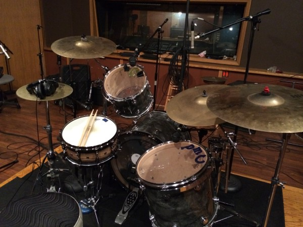 My Drums, Keith Roach's cymbals and snare for AJ Szozda session. I used sticky-toy-words-window-gel-clings to control ring!