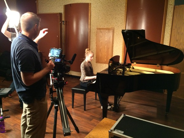 WLMB TV 40 records 100 hymns - they have a new 4k camera - Sophia Schmitz is the director.