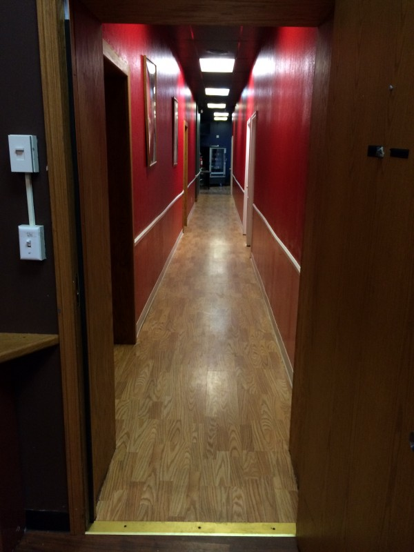 Hallway with new hardwood floor and new ceilings