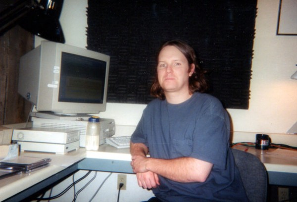 Stoll at Audiomatrix recording studios with old Mac, mid 1990s.